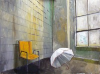 Chair with Parasol, Acrylic on Canvas, 60 x 80 cms, £500